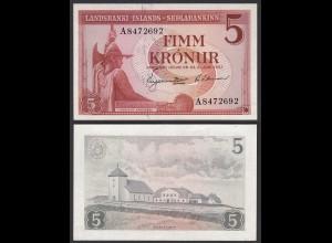 Iceland - Island 5 Kronur 1957 Pick 37b aUNC (1-) (25230