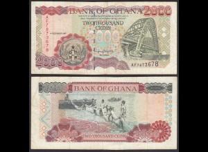 Ghana 2000 Cedis 1997 Pick 33b VF- (3-) (25255