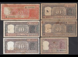 Indien - India 6 pieces of old Banknotes used (20260