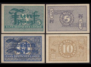BDL - 5 + 10 Pfennig 1948 Ro. 250 + 251 Pick 11 + 12 UNC (1) (25272