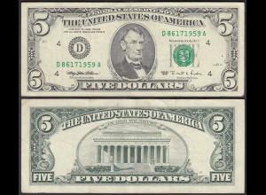 USA 5 $ Banknote Serie 1995 Cleveland/Ohio Pick 498 VF (3) (25297