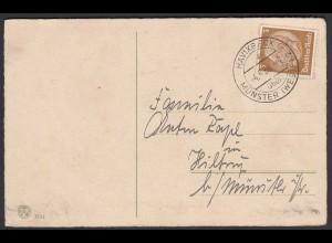 Havixbeck 1938 Überstempel Münster Landpost auf Karte (25302