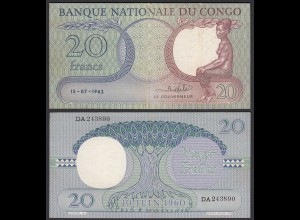 Kongo - Congo 20 Francs 15.07.1962 Pick 4a VF/XF (2/3) (25303