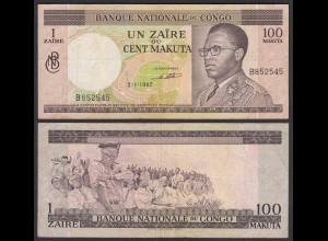 Kongo - Congo 1 Zaire = 100 Makuta 2.1.1967 Pick 12a VF (3) (25308