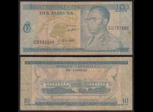 Kongo - Congo 10 Makuta 2.1.1967 Pick 9a VG (5) (25311