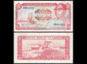 Gambia 5 Dalasi Banknote ND (1987-90) Pick 9a F/VF (3/4) (25317
