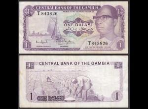 Gambia 1 Dalasi Banknote ND (1971-87) Pick 4f VF- (3-) sig 7 (25326