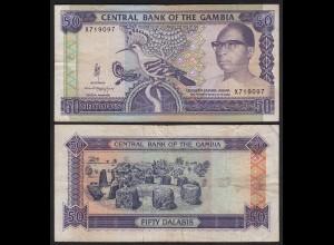 Gambia 50 Dalasi Banknote ND (1989-95) Pick 15a F/VF (3/4) sig 10 (25336