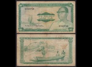 Gambia 10 Dalasi Banknote ND (1972-86) Pick 6c VG (5) sig 7 (25339