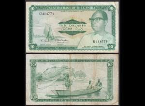 Gambia 10 Dalasi Banknote ND (1972-86) Pick 6c F (4) sig 7 (25341