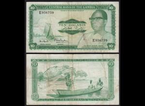 Gambia 10 Dalasi Banknote ND (1972-86) Pick 6c F (4) sig 7 (25342