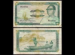 Gambia 10 Dalasi Banknote ND (1987-90) Pick 10a F (4) sig 8 (25343