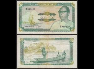 Gambia 10 Dalasi Banknote ND (1987-90) Pick 10b F/VF (3/4) sig 9 (25344