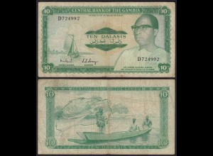 Gambia 10 Dalasi Banknote ND (1972-86) Pick 6b F (4) sig 6 (25345
