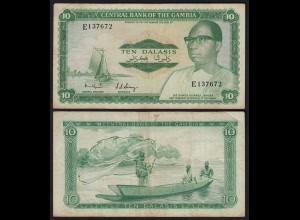 Gambia 10 Dalasi Banknote ND (1972-86) Pick 6b F (4) sig 6 (25346
