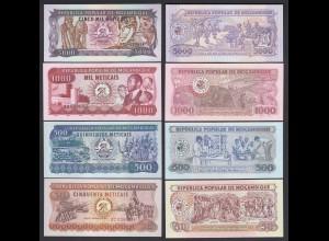 MOSAMBIK - MOZAMBIQUE 4 Stück Banknoten 1986-91 UNC (25347