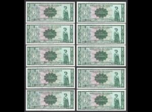 Paraguay 10 Stück á 1 Guarani Banknoten 1952 Pick 193a UNC (1) (89019