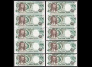 PHILIPPINEN - PHILIPPINES 10 Stück á 5 Piso (1969) Pick 143b UNC (1) (89021