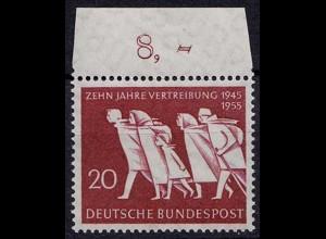 BRD - Bund Mi-Nr. 215 postfrisch 1955 10 Jahre Vertreibung OR (8603