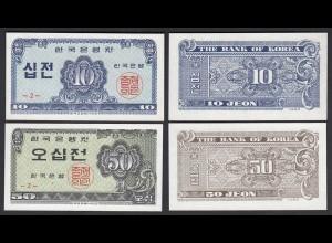 KOREA 10 + 20 Jeon Banknote 1962 Pick 28/9 UNC (1) (25380