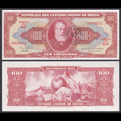 BRASILIEN - BRAZIL 10 Centavos auf 100 (1966-67) UNC Pick 185a (25388