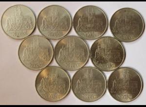 DDR 10 Stück 5 Mark Meissen 1972 Münzen (r822