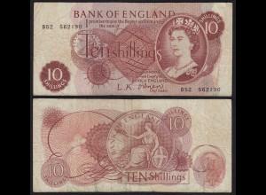 Grossbritannien - Great Britain 10 Shilling ND (1960-61) Pick 373a F (4)