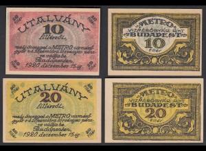 Ungarn - Hungary 10 + 20 Filler Budapest 1920 XF (2) (25503
