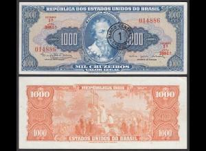 BRASILIEN - BRAZIL 1 Cr. auf 1000 Cruzeiros (1966-67) aUNC (1-) Pick 187a (25529