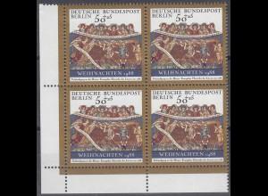 Berlin Weihnachten 1988 Michel 829 postfrisch ER 4-er Block ul (25534