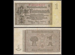 Rentenbankschein Deutsches Reich 1 Rentenmark 1937 Ros 166b VF+ (3+) (25546