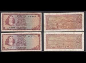 Südafrika - South Africa 2 Stück á 1 Rand (1966) Pick 109a F (4) (25565