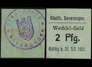 Westfalen - Beverungen Kreis Höxter 2 Pfennig Notgeld 1921 (25568