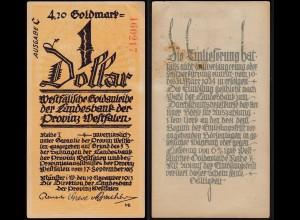Provinz Westfalen - Münster 1 Dollar 4,20 Goldmark 1923 Serie C (25570