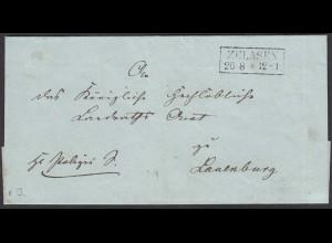 Preussen Umschlag ZELASEN R2 nach LAUENBURG (25607
