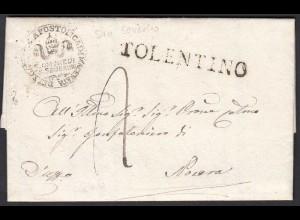 ITALIEN Brief 1833 San Severino to TOLENTINO mit Inhalt (25600