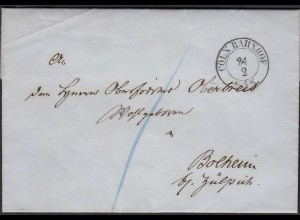 Preussen 1864 Brief CÖLN-BAHNHOF - BOLHEIM b.ZÜLPICH Inhalt (25601