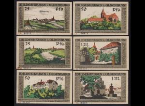 Niedersachsen - Wildeshausen/Oldenburg 6 Stück Notgeld Serie A (20148