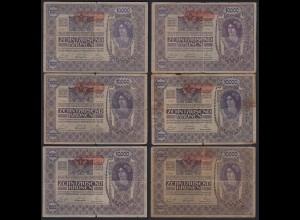 Österreich - Austria 6 Stück á 10000 10.000 Kronen 1919 Pick 66 2. Auflage