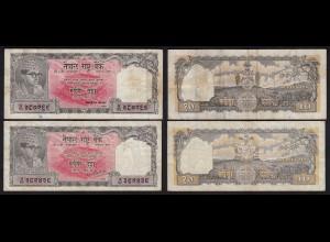 Nepal - 2 x 10 Rupees (1961) Pick 14 sig 5 + 8 F (4) (25658