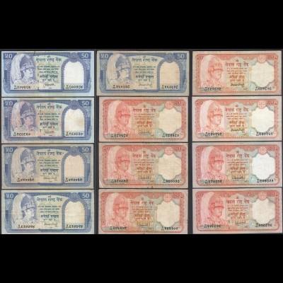 Nepal - 12 Stück 20 + 50 Rupees teils versch. Signaturen F/VF (3/4) (25669