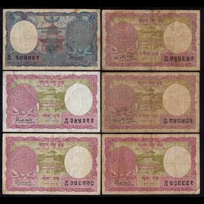 Nepal - 6 Stück alte Banknoten Pick 1,8 +12 F/VF (3/4) (25670