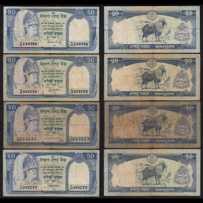 Nepal - 4 Stück á 50 Rupees Pick 33 versch. Signaturen F/VF (3/4) (25674