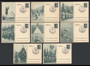 NS Militaria Propaganda Karten Satz 3.Reich 29.9.1937 SST Mussolini - Hitler