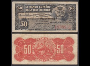 Kuba - Cuba 50 Centavos 1896 Pick 46a VF (3) (25746