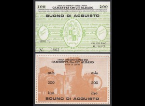 Italien - Italy 200 Lire BUONO DI ACQUISTO TABACCHERIA 1976 aUNC (1-) (25802