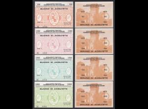 Italien - Italy 50-200 Lire Serie BUONO DI ACQUISTO TABACCHERIA 1976 aUNC (1-)