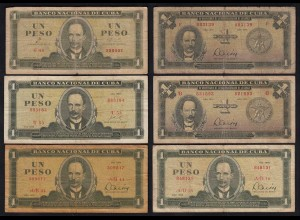 Kuba - Cuba - 6 Stück á 1 Pesos aus 1961-85 VG/F (4/5) (25811