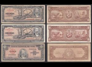 Kuba - Cuba - 3 Stück á 10 Pesos 1956,1958,1960 F/VF (3/4) (25812