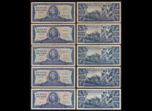 Kuba - Cuba - 5 Stück á 20 Pesos 1983,87,88,89,90 F/VF (3/4) (25815